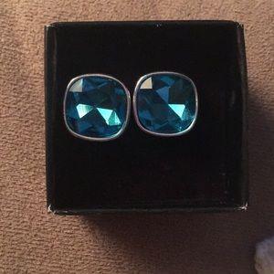 NWB blue rhinestone stud earrings